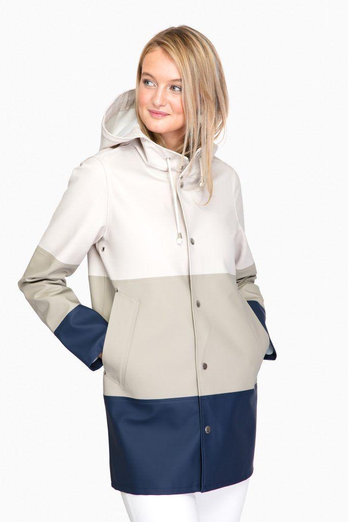 navy stripe raincoat