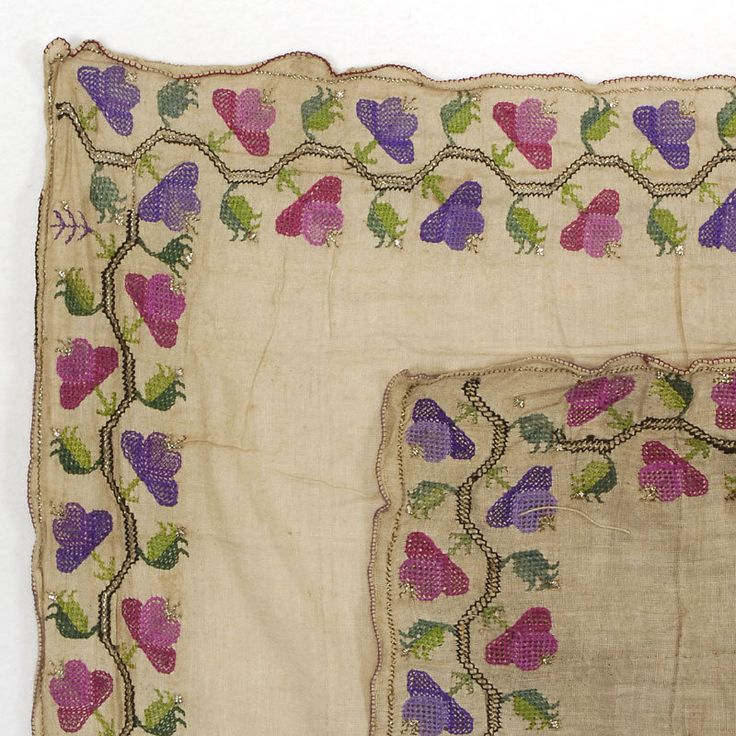 Late-Ottoman napkin. 19th century. Or possibly a 'yazma' or 'yemeni' (large head scarf).  This is 'two-sided embroidery' (front and rear are identical).