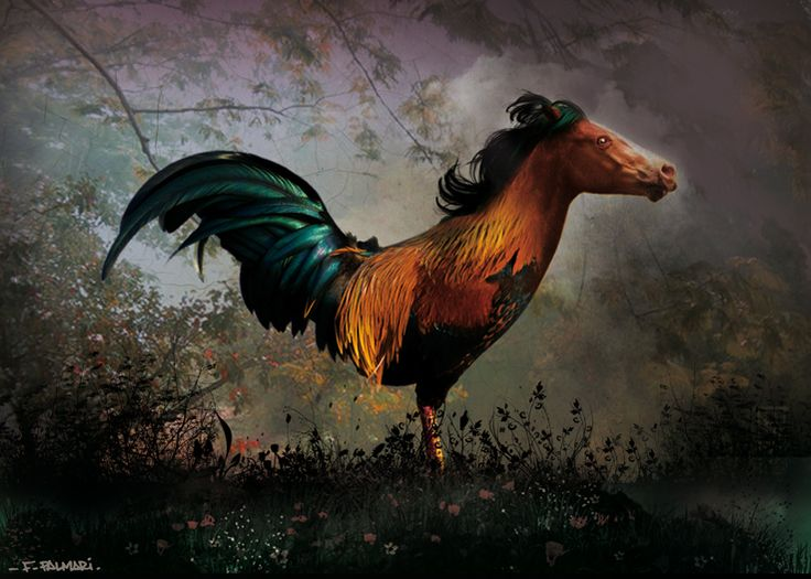 Hippalectryon, Rooster/Horse Painting: 'HIPPALEKTRYON DE BRUYERE' by Fabian Palmari AKA louboumian Deviant Art