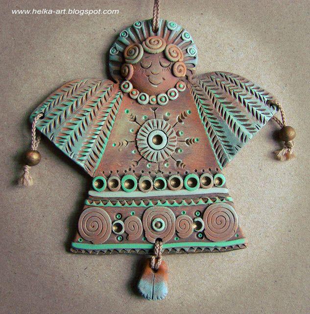 "ART-piggy from HELKI: Ceramics workshop. Pendant ""Angel"" blue clay, acrylic"