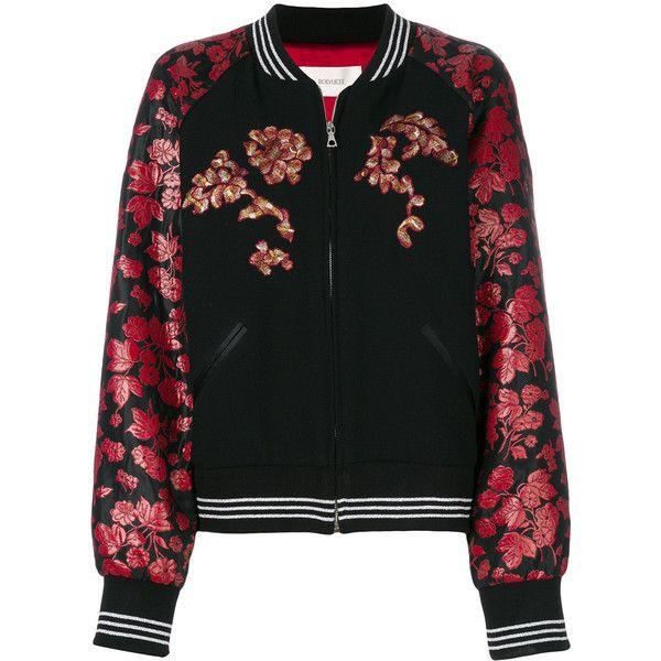 Rodarte floral print bomber jacket (30.677.090 IDR) ❤ liked on Polyvore featuring outerwear, jackets, black, floral jackets, flight jacket, rodarte, bomber jackets and floral bomber jacket