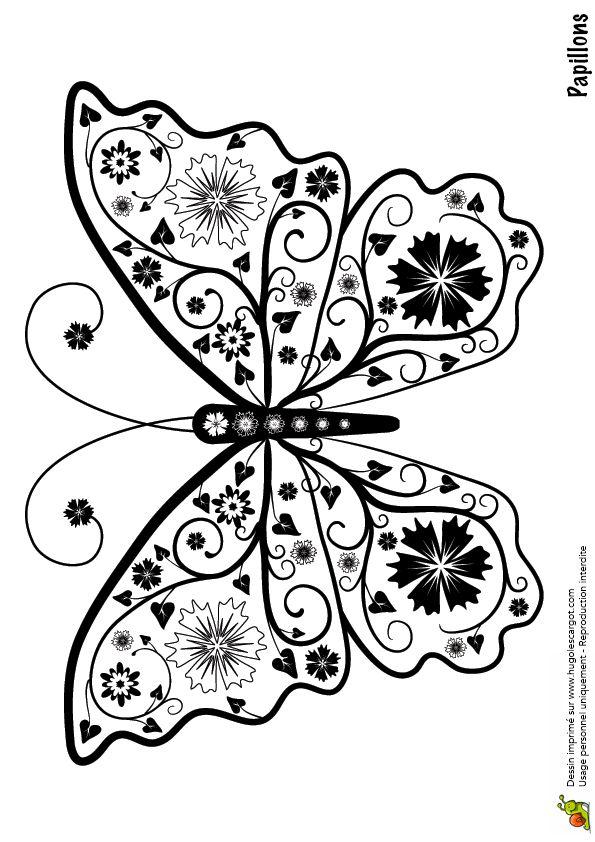 Coloriage pour adultes, dessin représentant un papillon à fleurs