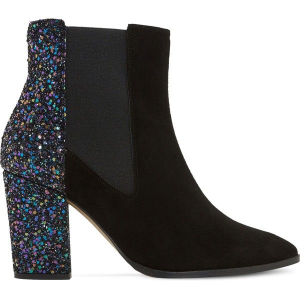 Dune Order glitter and suede chelsea boots found on Polyvore featuring shoes, boots, ankle booties, ankle boots, heels, block heel boots, faux suede boots, high heel booties and short heel boots