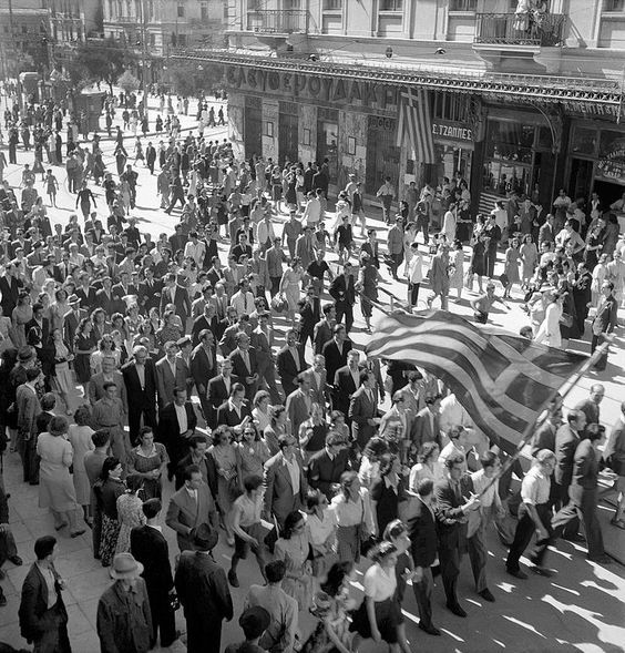 Festivities at time of liberation by ally forces. Athens, 12 October 1944