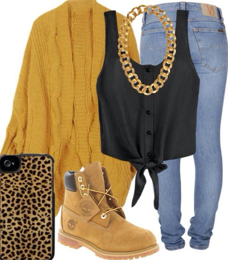 dope fall outfit with timberland boots