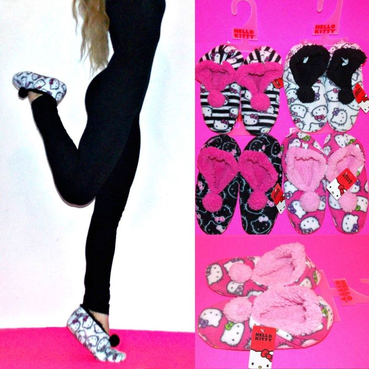 NWT Sanrio Hello Kitty Sherpa lined Pom SLIPPER SOCKS for Women  5/6 #SanrioHelloKitty #SlipperSocks