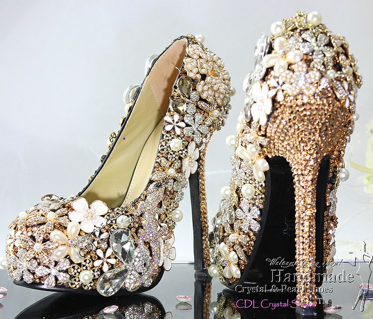 Luxury Customized Handmade Gold crystal shoes for wedding bridal party $298.30