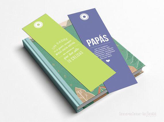 Marcadores de Libros para Papá  Ser Papá con 4 por ImprimeTuFiesta