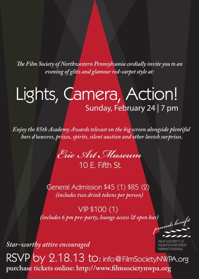 LIGHTS, CAMERA, ACTION!  Feb 24, at 7 p.m.  Guests will enjoy hors d'oeuvres, prizes, spirits, silent auction & other lavish surprises followed by an Oscar viewing on the big screen at 8 p.m.    Admission $45 (1) $85 (2)  (includes 2 drink tokens per ticket)  VIP $100 (1)  (includes 6 p.m. pre-party, lounge access & open bar)  Star-worthy attire encouraged  RSVP by 2/18 purchase tickets online: http://www.brownpapertickets.com/event/309972  #charity #fundraiser #EriePA #academyawards…