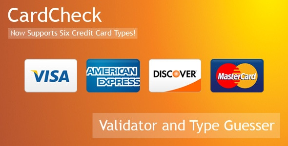 CardCheck is a credit card Validator and Type Guesser.  It provides instant feedback during credit card number entry.  Validate credit cards,