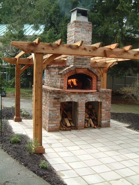 Outdoor Pizza Oven. They come in all shapes and sizes! This one would be a nice centerpiece for a back yard.