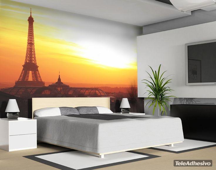 Wall mural paris landmark panoramic landscape hogar for Vinilos decorativos murales
