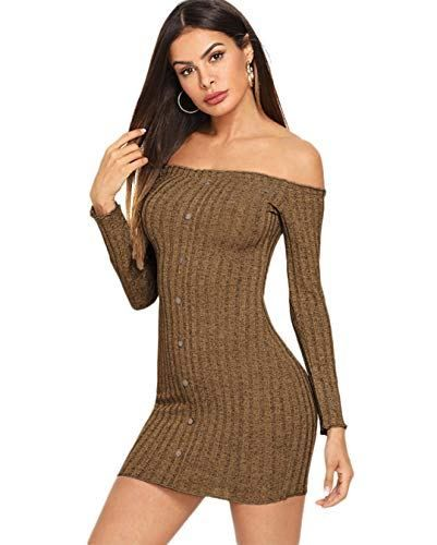 7aea015e2562 Women s Long Sleeve Off Shoulder Button Down Bodycon Sweater Dress  722