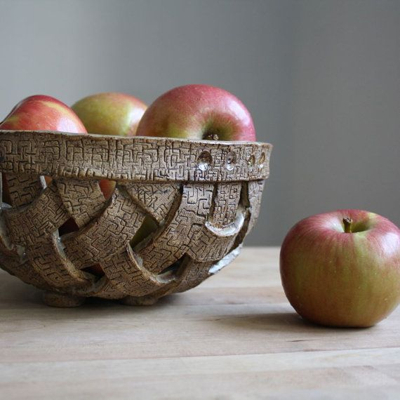 Handmade Pottery Bowl - Handwoven Stoneware Basket - Ceramic Bowl in EarthTones - Brown and Red Bowl on Etsy, $50.00