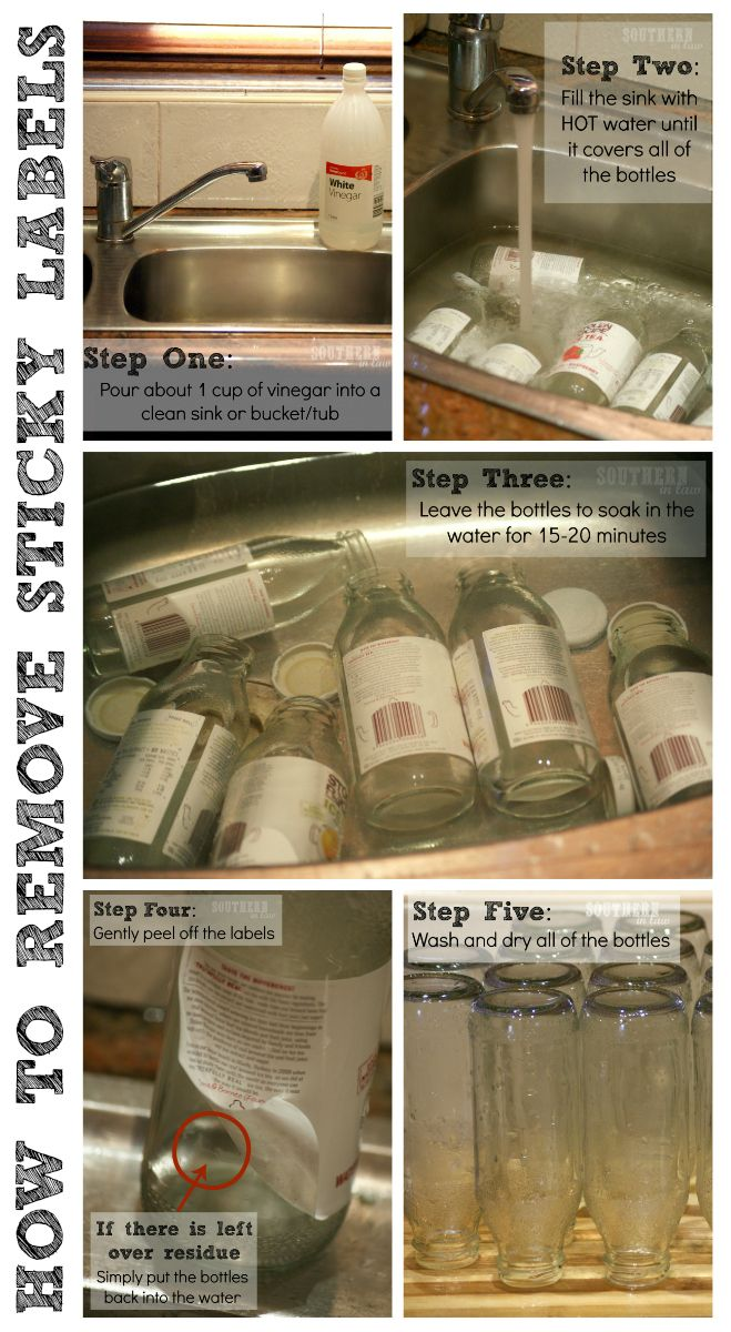How to remove sticky labels easily, cleanly and without chemicals! The secret is vinegar!