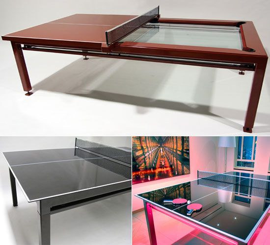 A pool/table tennis table that will fold up and store in the garage when not in use and can then be brought out to play in the garage if you take the cars out.