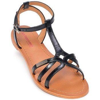 Sandale plate 100 % cuir. Un entrelacement de brides sur le dessus des orteils dans différents cuirs et couleurs, le tout se rejoignant en 2 brides sur le coup de pied, donne beaucoup d'élégance à cette chaussure. Cette forme convient aux pieds de largeur NORMALE et un PEU LARGE. Prendre sa pointure habituelle. - Couleur : Noir - Chaussures Femme 69,00 €