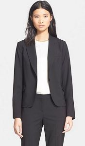 Article on tips for women buying suits for interviews and work suits for women  from Corporette. Theory 'Custom Gabe' Blazer