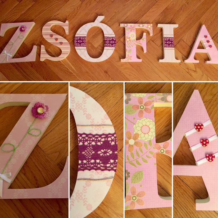 Sophia, Zsófia, wall decoration, DIY, 3D letters
