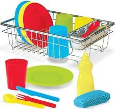 Melissa & Doug WASH & DRY DISH SET Cutlery Plates Cups Pretend Play Kids BN