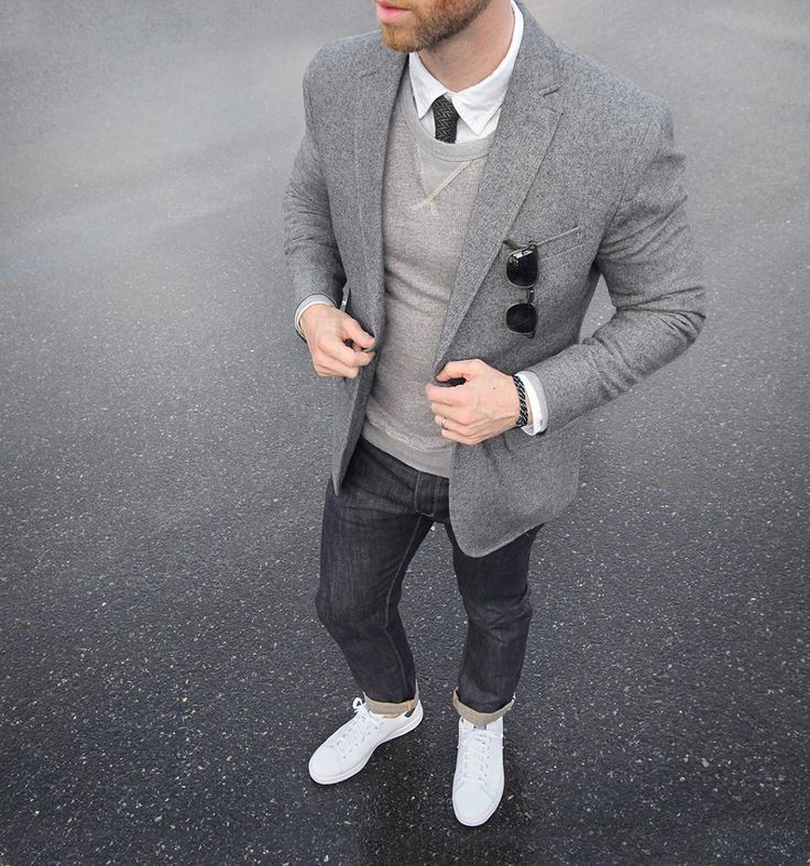 Layered gray #ConcreteCamouflage Blazer/Tie: @bananarepublic Bracelet: @miansai bind rope Denim: @shockoe_atelier slim como Shoes: @adidasoriginals Stan Smith @nordstrommen Oxford: @grayers Sweatshirt: @jcrew by thepacman82: