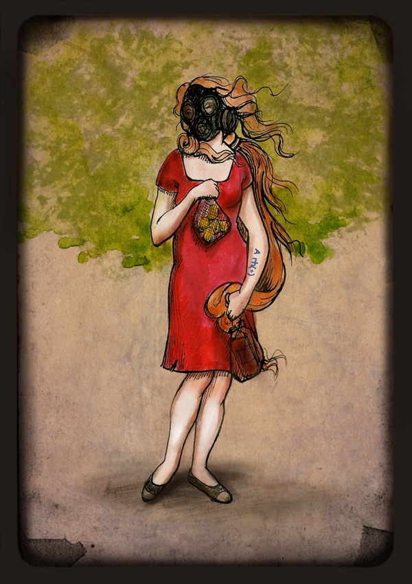 Venus by Gaye Kunt, via Behance  #occupygezi #occupyturkey #direngezi #direntürkiye #peppergas #reddressedwoman #everydayimçapuling #taksimgeziparkı #venus #boticelli #painting #mixedmedia #gasmask