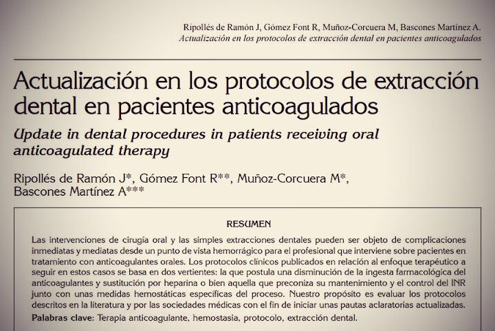 CIRUGÍA BUCAL PDF: Actualización en los protocolos de Extracción Dental en Pacientes Anticoagulados   Ovi Dental