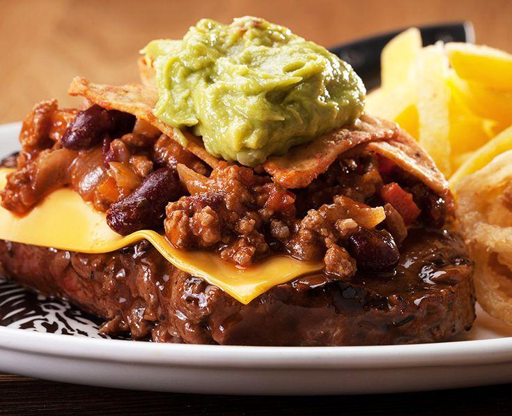 Chili Con Carne Steak: Rump or Sirloin topped with chilli con carne, nachos and guacamole. https://www.spur.co.za/menu/steaks/