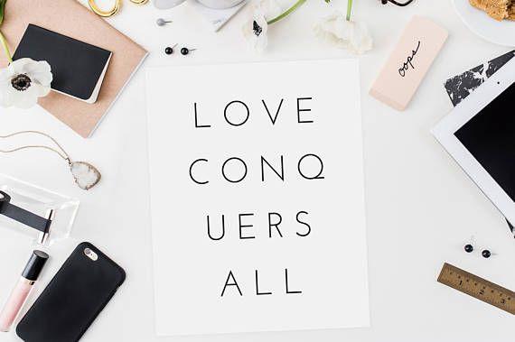 Love Conquers All  Modern Love Print  Minimalist Art