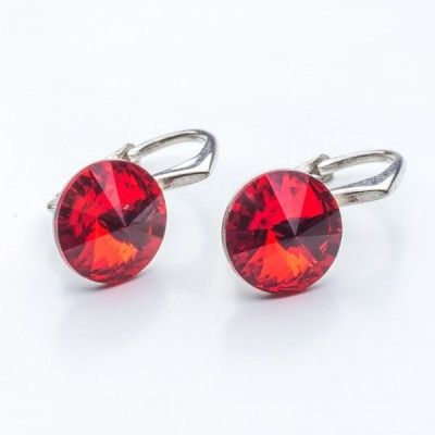 Swarovski Rivoli Earrings 8mm Light Siam  Dimensions: length: 1,7cm stone size: 8mm Weight ~ 1,85g ( 1 pair ) Metal : sterling silver ( AG-925) Stones: Swarovski Elements 1122 SS39 Colour: Light Siam 1 package = 1 pair