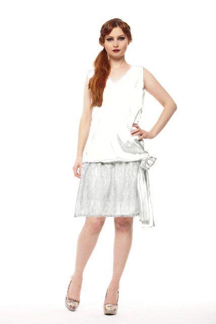 Flapper Wedding Dress 20s Bride Drop Waist Wedding Dress