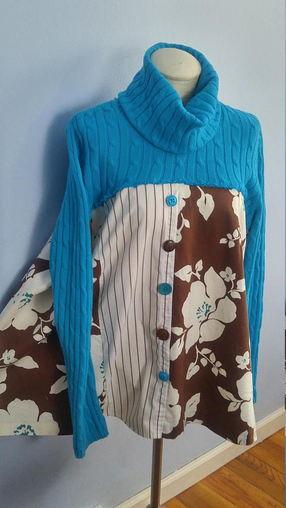 * Only one available - One-of-a-kind. * Fun and fashionable - express your unique style * Loose fitting and comfortable * machine washable * Sweater is a size large but stretchy and bottom is very loose fitting. Will easily fit XL/1x and possibly 2x