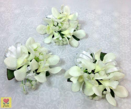 3-X-Cream-white-orchids-corsages-wedding-silk-flower-cintahomedeco