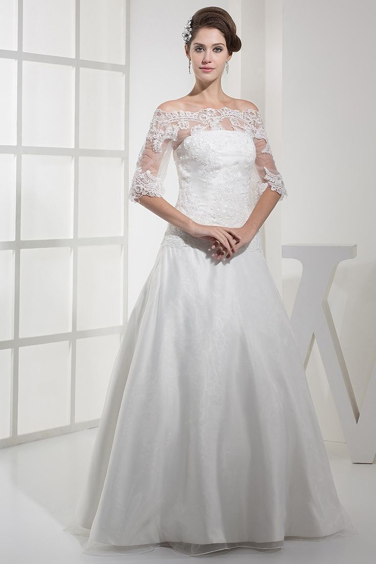 Elegant A Line Off The Shoulder Half Sleeve With Lace Wedding Dress Bridal Gown