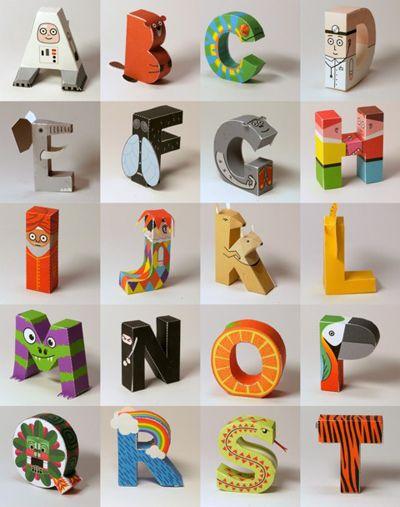 Digitprop printable 3-D alphabet via How About Orange