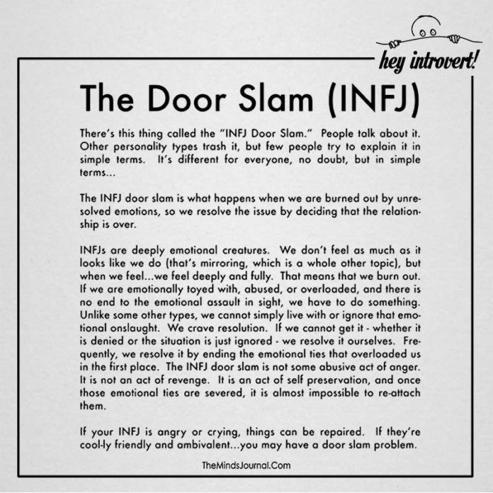 Reasons Why The Sensitive INFJ Removes People From Their Life With The InSensitive Door-Slam
