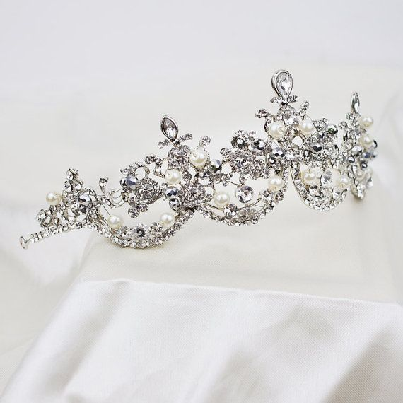 Pearl and Austria Rhinestone Bridal Tiara, Wedding Tiara headpiece, Bridal Princess Crown, Crystal Headband