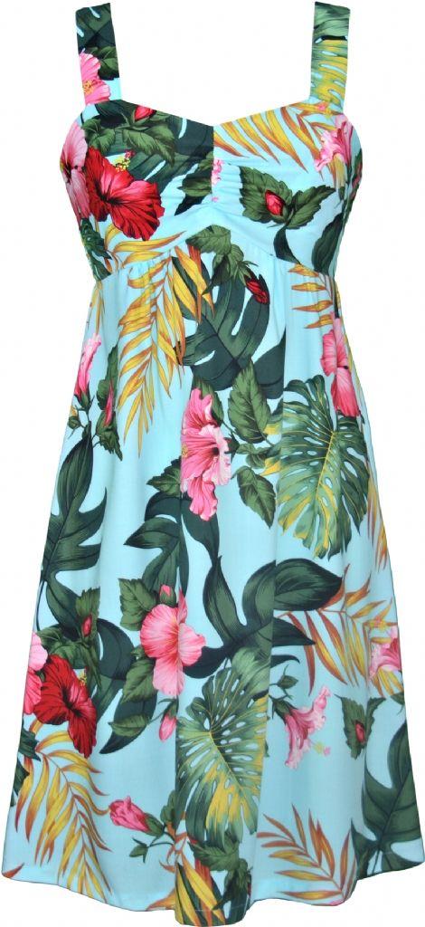 Hibiscus Tropics Hawaiian Print Sun Dress in Blue, Womens Tropical Hawaiian Dresses Shirts Clothing, W188o-EN-Blue - Paradise Clothing Company