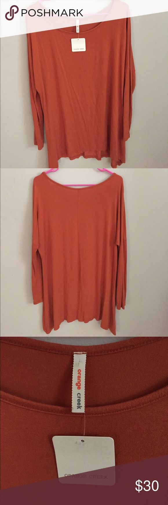 Piko Style Tunic Piko style burnt orange long sleeve shirt from Apricot Lane Boutique Tops Tunics