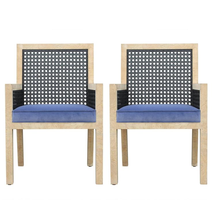 Pair of Modern Widdicomb Cane Chairs in Blue Velvet and Bleached Burl Walnut