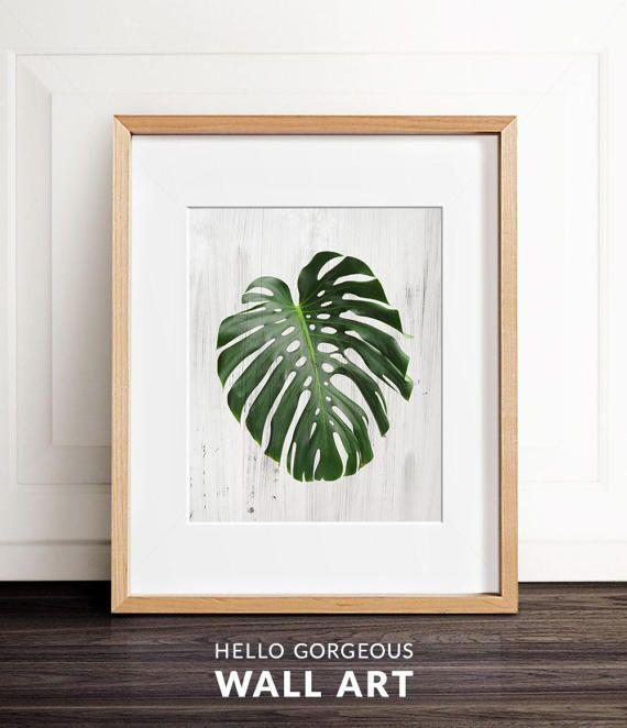 Monstera Leaf Print Palm Modern Minimal Botanical Wall Art