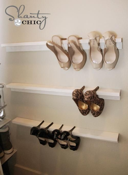 Shoe Organizers DIY...all this is is crown molding...amazing and brilliant