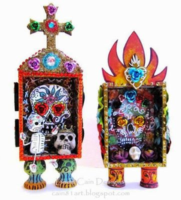 Day of the Dead Sugar Skulls - FRIENDS in ART: DOTD Mini Shrine Swap from Retro Cafe Art