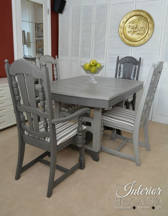 Painted Dining Room Set Painted Light And Dark Gray With Dry Brushed Table Top The Interio Painted Dining Table Painted Dining Room Table Dining Table Chairs