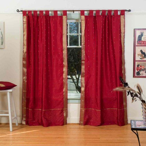 Maroon Tab Top Sheer Sari Curtain  Drape  Panel  43W x 96L  Pair * You can find out more details at the link of the image. (This is an affiliate link and I receive a commission for the sales)