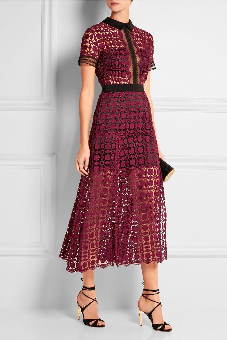 Self Portrait Guipure Lace Midi Dress Net A Porter Com