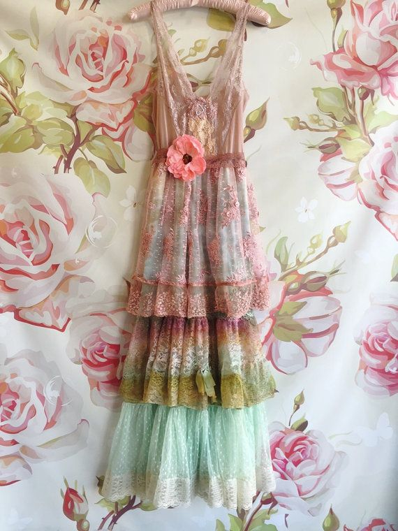 dusty pink mint and olive tiered BoHo vintage lace altered slipdress romantic feminine shabby chic  by mermaidmisskristin