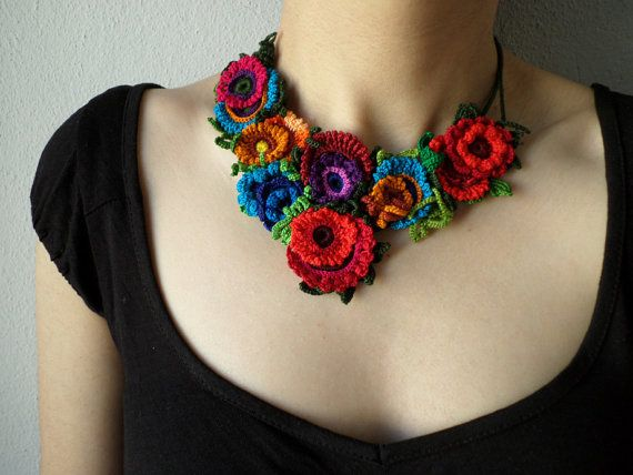 colorful floral statement necklace with red pink blue purple burgundy orange and…