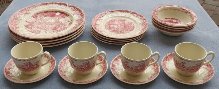 20 Pc Set for 4 Johnson Brothers Twas the Night Before Christmas Dinnerware New