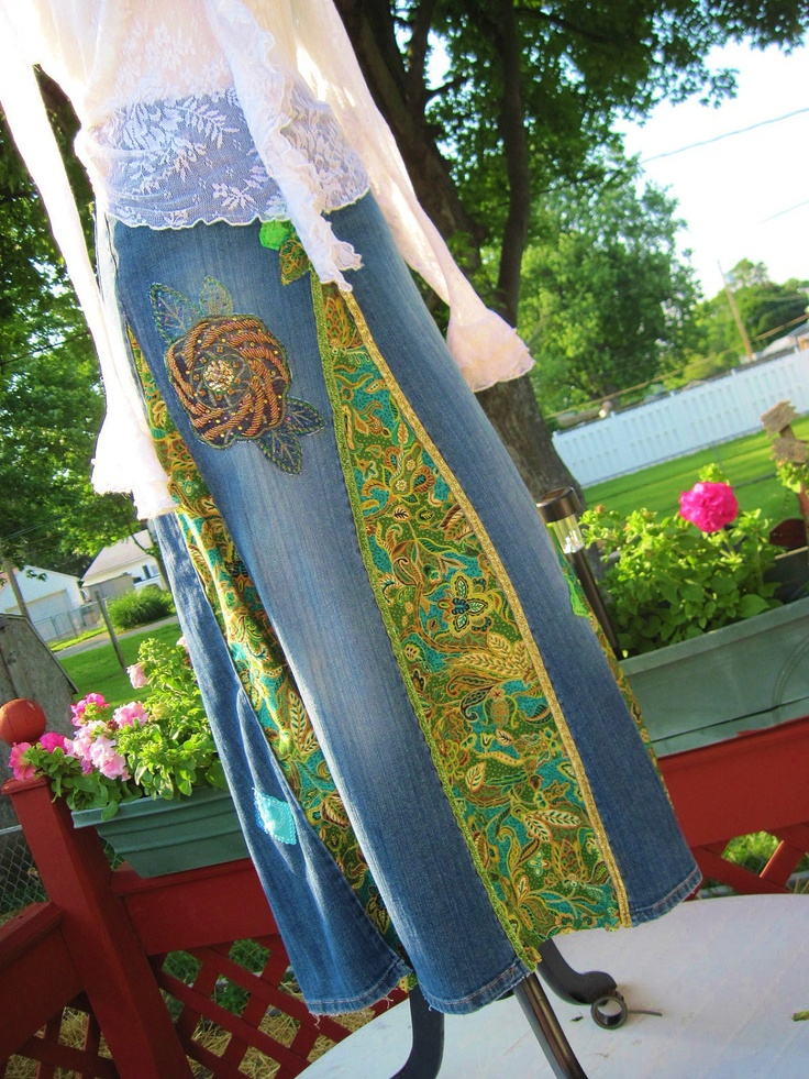 Upcycled skirt made from jeans I can see doing this with black jeans and metallic fabrics or possibly panne velvet